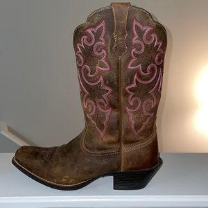 Brown and pink cowgirl boots by Ariat size 9B.